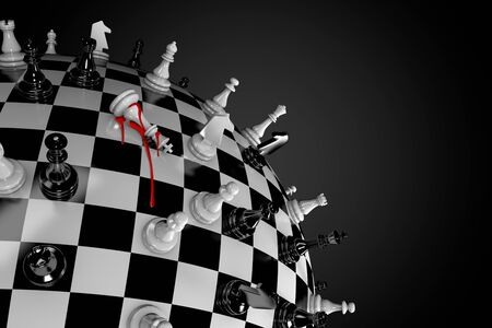 3D illustration of a globe in the form of a chessboard and a figure of a king with blood drips