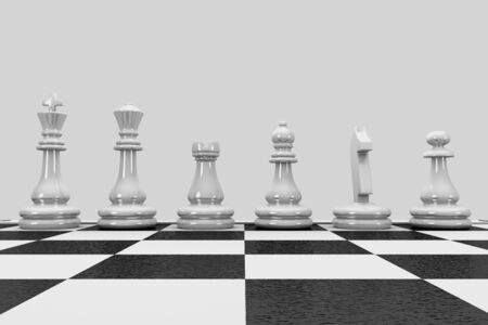 3D illustration chess pieces stand in a row