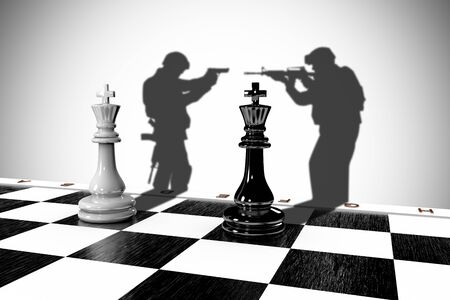 3D illustration of two chess pieces with a shadow of a soldier