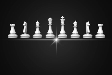3D illustration chess pieces stand in a row on a black background