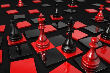 3D illustration of black and red chess pieces on a broken chessboard