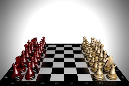 3D illustration chess pieces stand on a chessboard 写真素材
