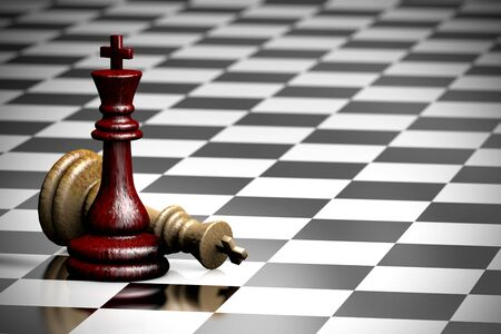 3D illustration chess pieces two kings one of which fell