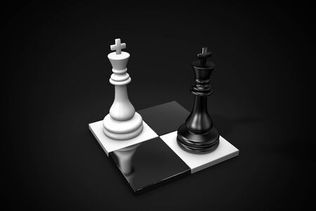 3D illustration chess pieces two kings on a dark background