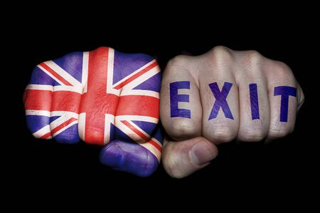 "Two fists on one UK flag and on the other the word ""exit"""