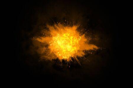 Helle Explosion mit Splittern auf schwarzem Hintergrund