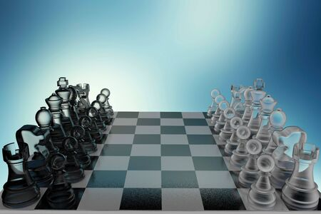 3D illustration glass chess on a blue background