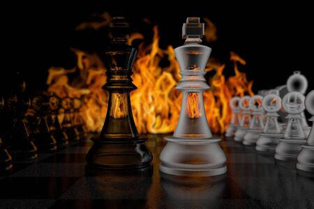 3D illustration glass chess kings on a background of fire Banco de Imagens