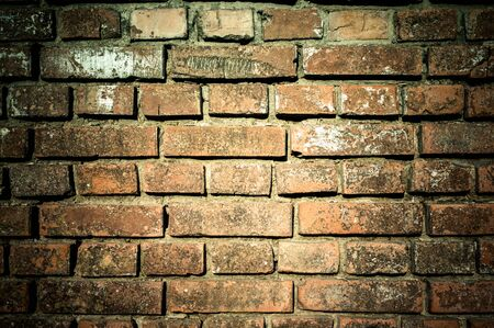 Wall of old weathered bricks in detail