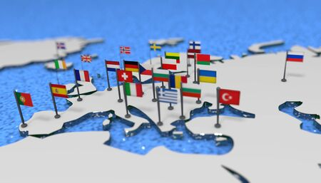 3D illustration map of Europe with EU flags
