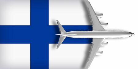 3D flag of Finland with an airplane flying over it Zdjęcie Seryjne