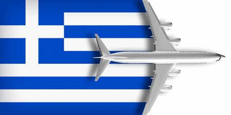3D flag of Greece with an airplane flying over it