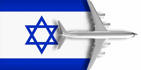 3D flag of Israel with an airplane flying over it Zdjęcie Seryjne