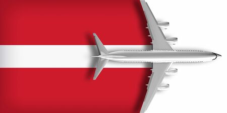 3D flag of Latvia with an airplane flying over it