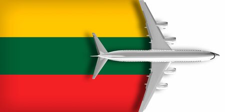 3D flag of Lithuania with an airplane flying over it 版權商用圖片