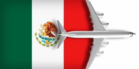 3D flag of Mexico with an airplane flying over it