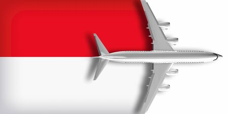 3D flag of Monaco with an airplane flying over it