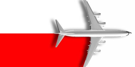 3D flag of Poland with an airplane flying over it 版權商用圖片