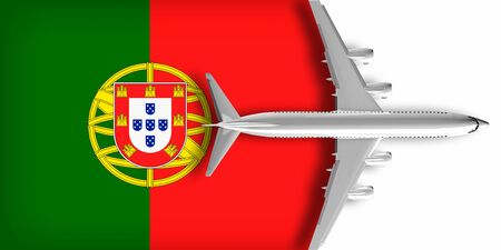3D flag of Portugal with an airplane flying over it
