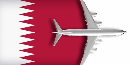 3D flag of Qatar with an airplane flying over it Zdjęcie Seryjne