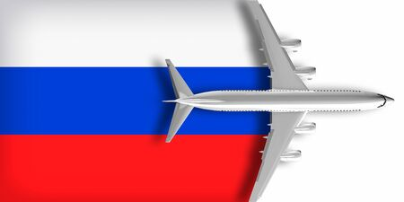 3D Russian flag with an airplane flying over it