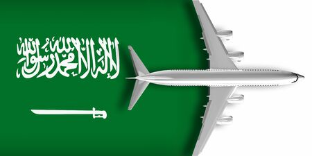 3D flag of Saudi Arabia with an airplane flying over it Zdjęcie Seryjne
