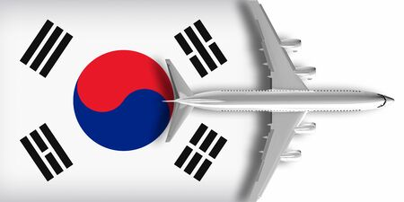3D flag of South Korea with an airplane flying over it 版權商用圖片