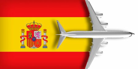 3D flag of Spain with an airplane flying over it