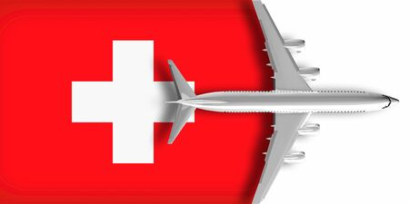 3D flag of Switzerland with an airplane flying over it