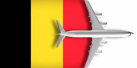 3D flag of Belgium with an airplane flying over it Zdjęcie Seryjne