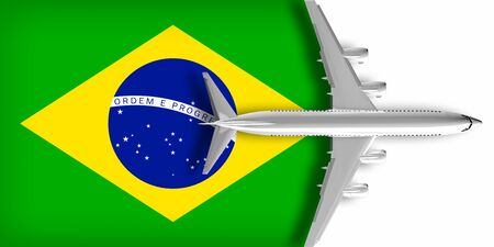 3D flag of Brazil with an airplane flying over it Zdjęcie Seryjne