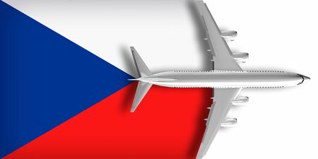 3D flag of the Czech Republic with an airplane flying over it