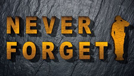 3D illustration of the inscription we will never forget with the silhouette of a soldier.