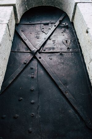 Very old iron forged door close up Imagens