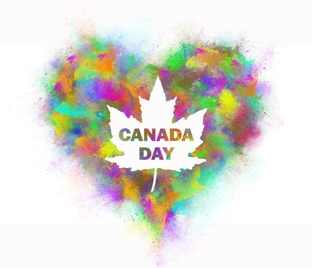 The inscription Canada Day from the spray of colored paint.