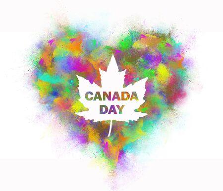 L'inscription Fête du Canada de la pulvérisation de peinture colorée.