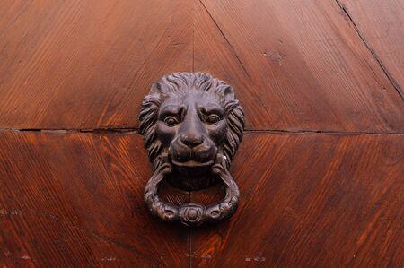 Door knocker in the form of a head on a wooden door close up