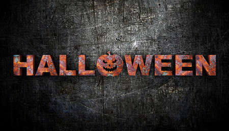 3D illustration of the word halloween made of rusty metal.