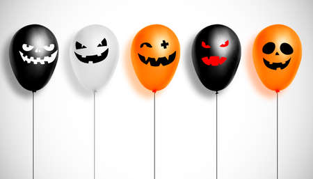 3D illustration of balloons with scary faces. Halloween holiday concept. Reklamní fotografie