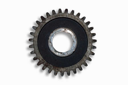 Old iron rusty gear wheel on a white background close up
