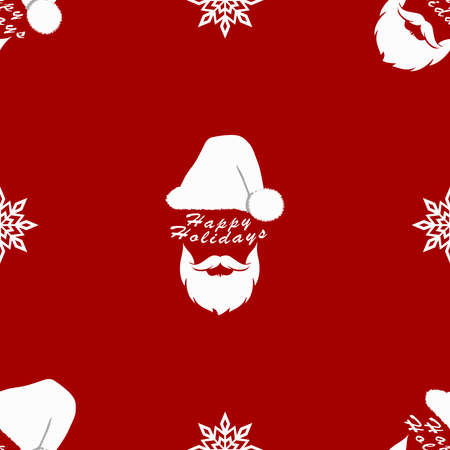 Silhouette of Santa Claus on a red background with snowflakes close up. Vector illustration. Seamless pattern. Illusztráció
