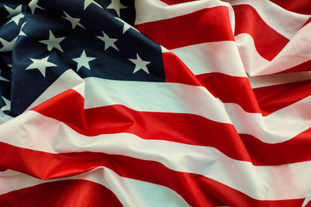 Crumpled american flag close up in detail Foto de archivo