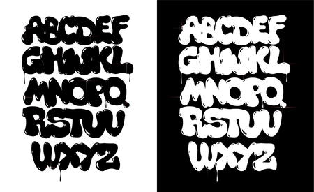 Black and white bubble graffiti font vector 向量圖像
