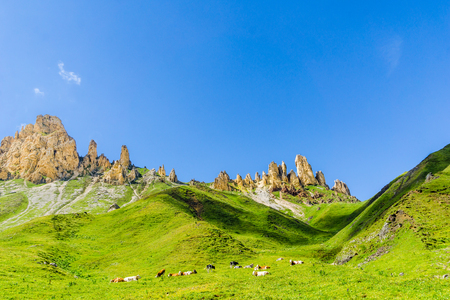 mountains by Seiser Alp in South Tyrol Stock Photo