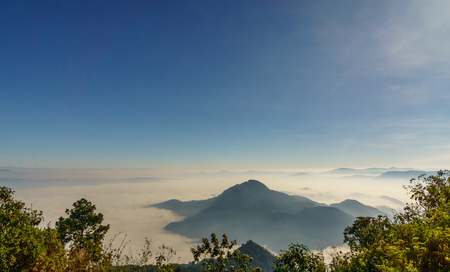 View on Volcanoes by Lago Atitlan from Santa Maria in Guatemala Stock Photo