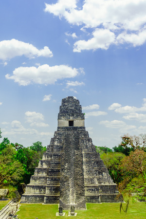 view on mayan pyramid by Tikal in Guatemala Stok Fotoğraf - 75430502
