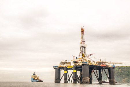 brent: view on offshore oil rig in Scotland