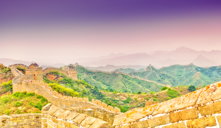 mutianyu: View on Great wall by Jinshaling in CHINA Stock Photo