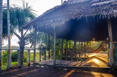 Jungle lodge in the brazilian rainforest by Rio Javari