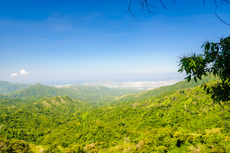 Rural mountain landscape by Minca with view on Santa Marta in Colombia